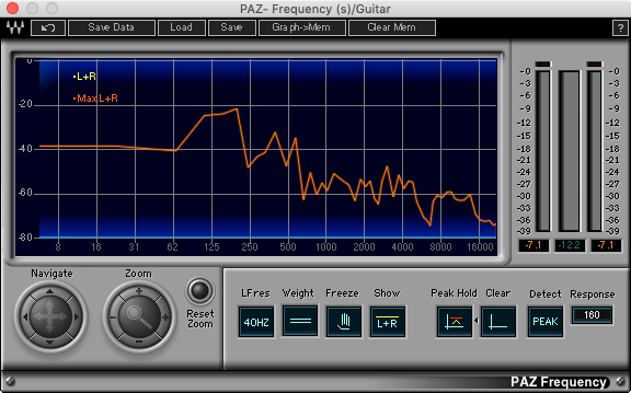 An image of a plucked guitar string run through a spectrum analyzer.