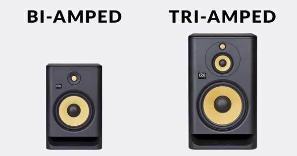 "An image of a bi-amped KRK ROKIT 8 G4 8"" studio monitor and a tri-amped KRK ROKIT 10-3 G4 10"" studio monitor."