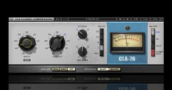 An image of Waves' CLA-76 compressor/limiter plugin.