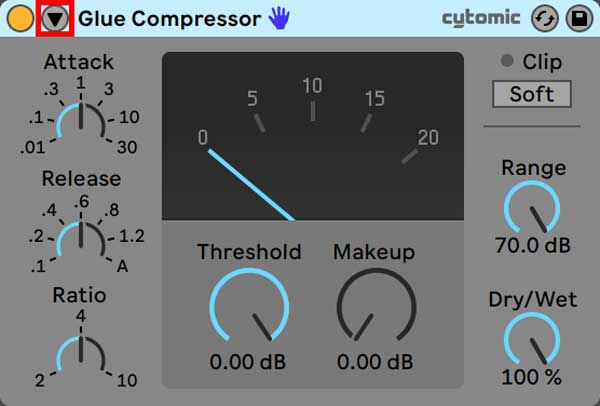 An image of Glue Compressor's Sidechain Toggle button highlighted in red.