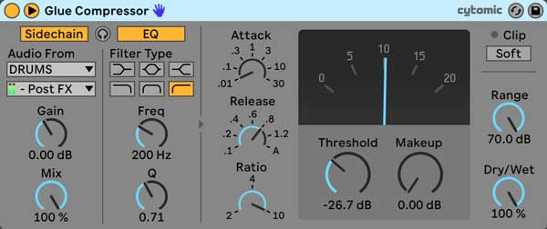 An image of Ableton's Glue Compressor using aggressive sidechain compression settings.