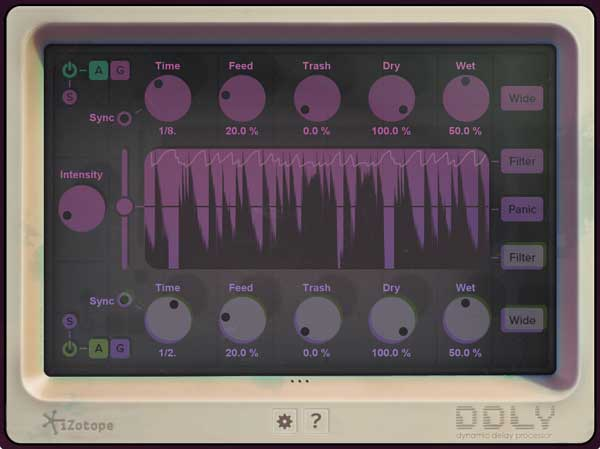 An image of iZotope's DDLY Dynamic Delay plugin.