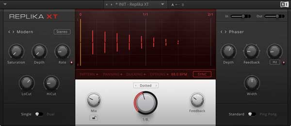 An image of Native Instruments' Replica XT delay plugin.