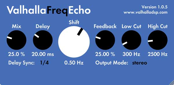 An image of Valhalla's Freq Echo delay plugin.