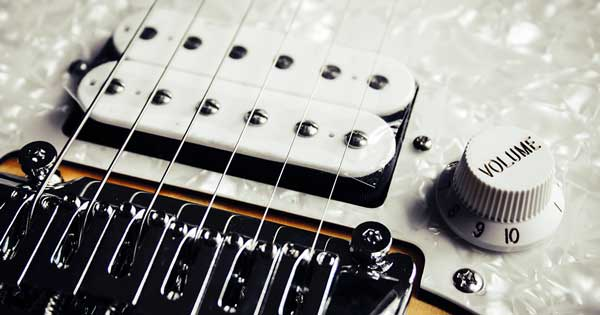 The pickups of an electric guitar.