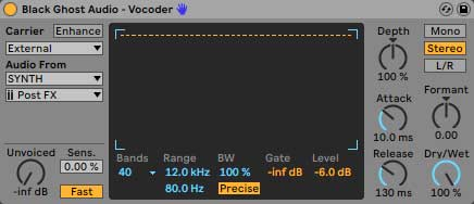 An image of recommended vocoder settings using Ableton's Vocoder.