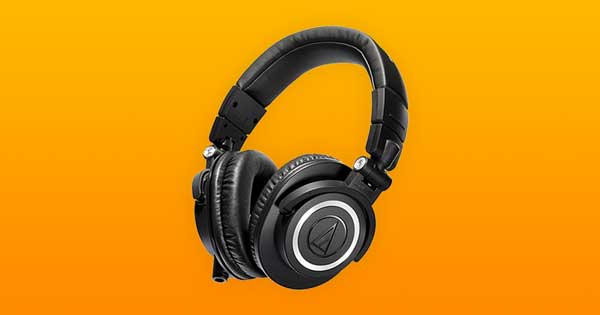 An image of a pair of Audio Technica ATH-M50x headphones.