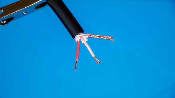 "An image of a microphone cable's stripped ""hot"" and ""cold"" wires."