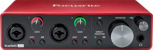 An image of a Focusrite Scarlett 2i2 audio interface.