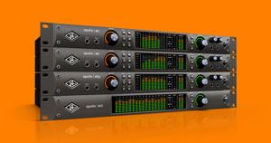 A stack of Universal Audio Apollo audio interfaces.