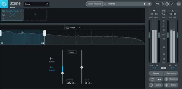 An image of iZotope Ozone 9's Low End Focus Module.