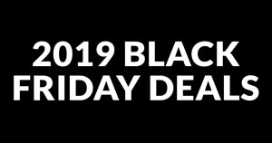 """White text that says """"2019 Black Friday Deals"""" on a black background."""