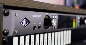 A close-up photo of Universal Audio's Apollo x8.