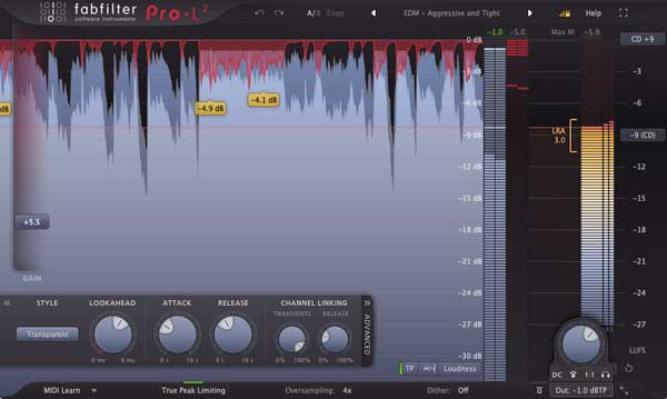 An image of FabFilter's Pro-L 2.