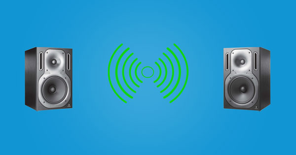 An image of two speakers creating a phantom mono sound source.