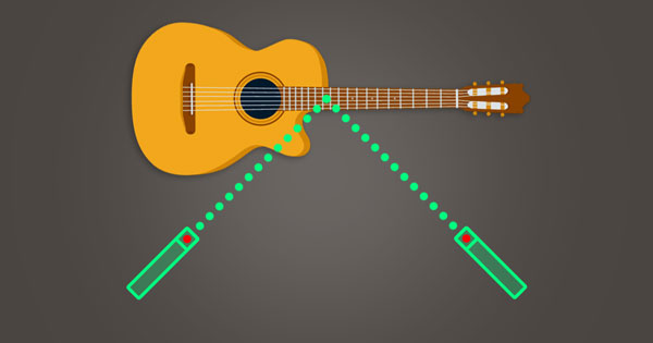 An image of a guitar being recorded in stereo.