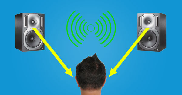 An image of a stereo playback system creating the impression of sound source localization.