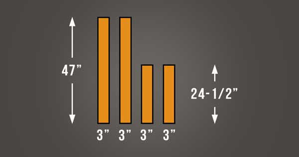 An image of the dimensions of the wooden strips required from the frames of the acoustic panels.