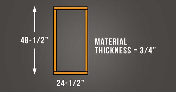 An image of the overall dimensions of the acoustic panel frames.