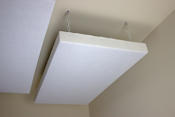 An image of a ceiling-mounted acoustic panel.