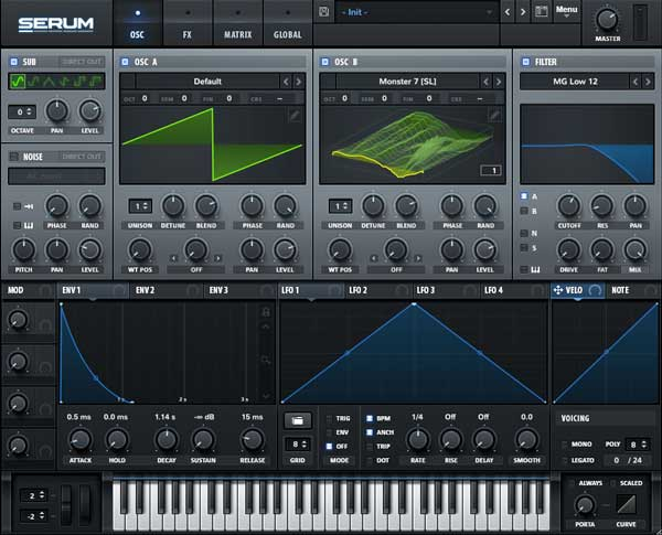 An image of Xfer Records' Serum VST plugin.