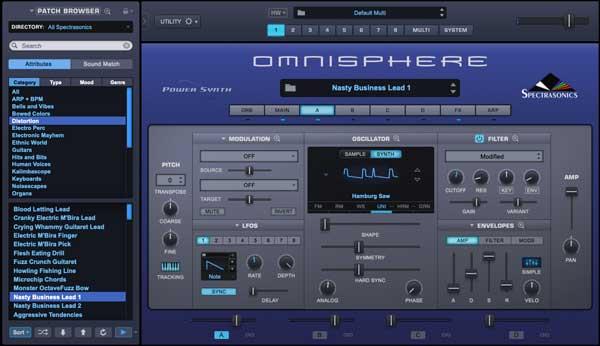 An image of Spectrasonics' Omnisphere VST plugin.