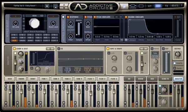 An image of XLN Audio's Addictive Drum 2 VST plugin.