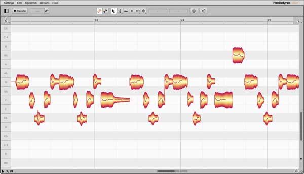 An image of Celemony's Melodyne 4 Editor VST plugin.