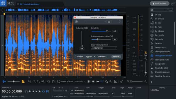 An image of iZotope's RX 7 Advanced VST plugin.