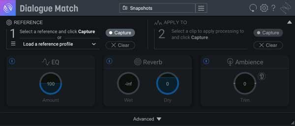 An image of iZotope's Dialogue Match AAX plugin.