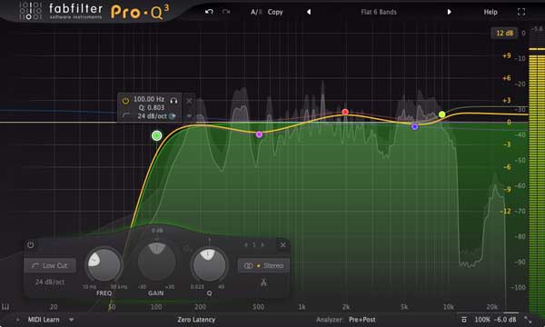 An image of FabFilter's Pro-Q 3 VST plugin.