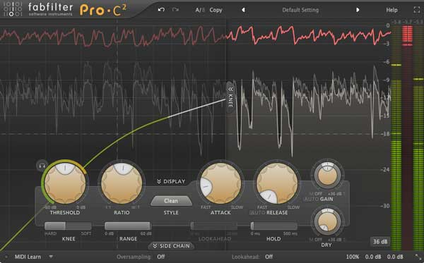 An image of FabFilter's Pro-C 2 VST plugin.