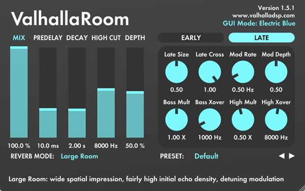 An image of Valhalla's Room VST plugin.