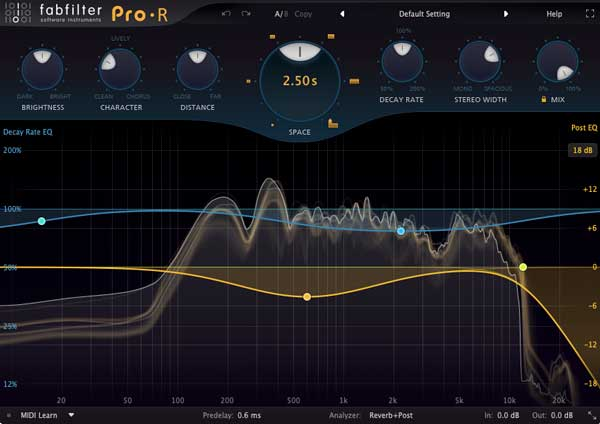 An image of FabFIlter's Pro-R VST plugin.