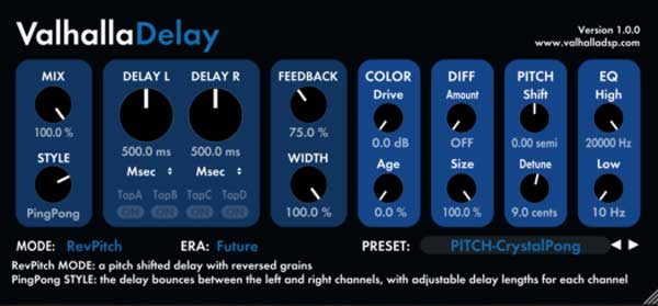 An image of Valhalla's Delay VST plugin.