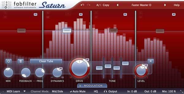 An image of FabFIlter's Saturn VST plugin.