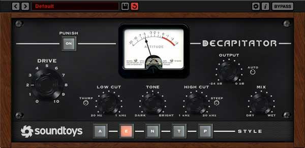 An image of Soundtoys' Decapitator VST plugin.