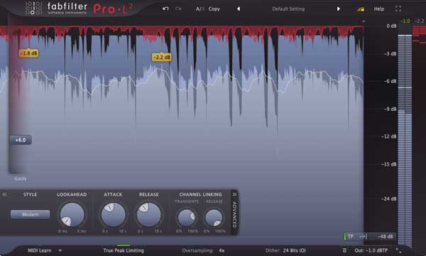 An image of FabFilter's Pro-L 2 VST plugin.