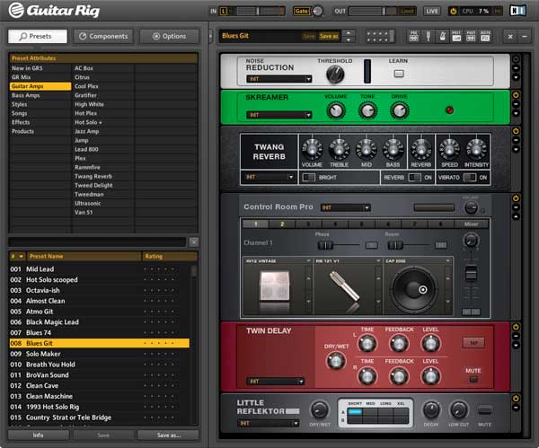 An image of Native Instruments' Guitar Rig 5 Pro VST plugin.
