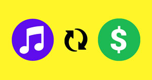 A music icon, conversion icon, and money icon on a yellow background.