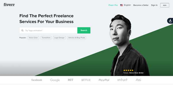 An image of Fiverr's homepage.