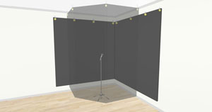 A 3D rendered DIY vocal booth.