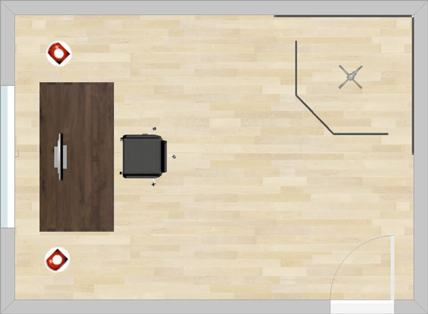 An image of a home studio floor plan containing a vocal booth in the top-right corner.