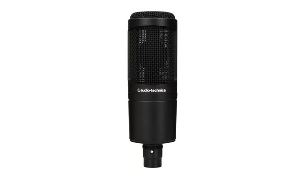 An image of an Audio-Technica AT2020 microphone.