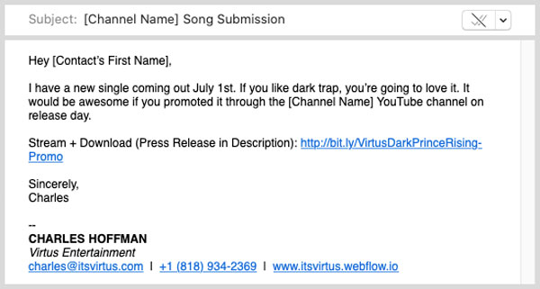 An image of an example of a promo email for YouTube channels.