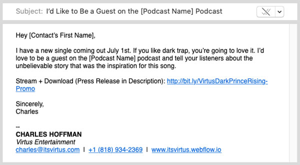 An image of an example of a promo email for podcasts.