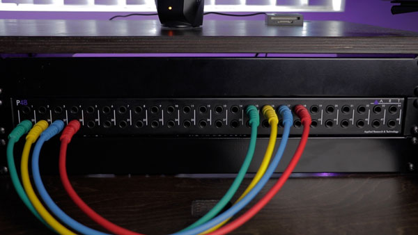 "An image of 1/4"" patch bay connections made with 1/4"" TRS patch bay cables."