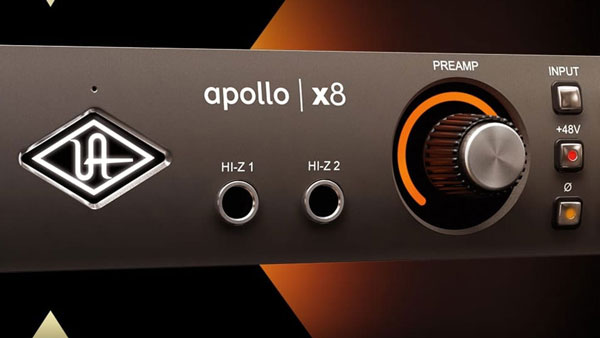 An image of two Hi-Z inputs on the front of an Apollo x8 audio interface.