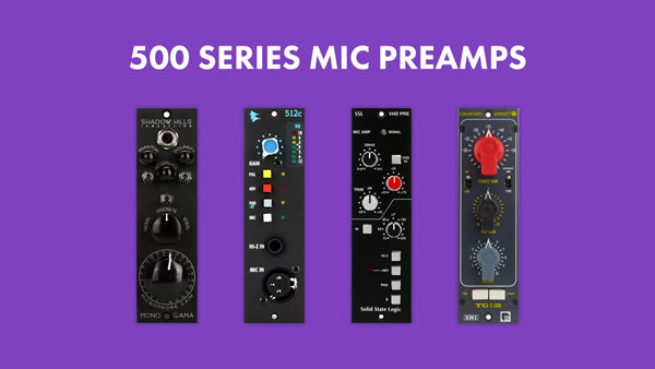 An image of 500 series mic preamps that include a Shadow Hills Mono Gama, API 512c, Solid State Logic VHD, and Chandler Limited TG2.