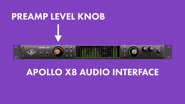 An image of the preamp level knob on an Apollo x8 audio interface.
